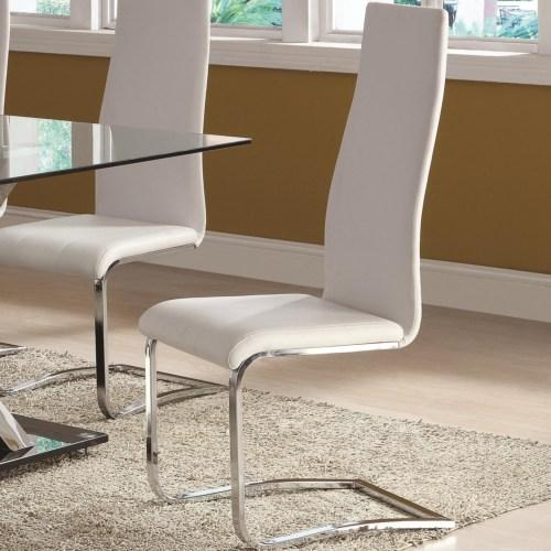 White Leatherette Dining Chairs with Chrome Finish (4/box)