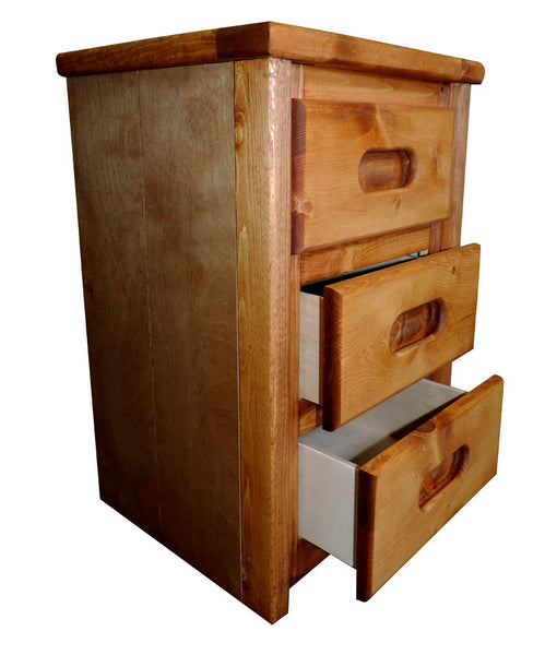 Pine 3 Drawer Nightstand in Amber Wash