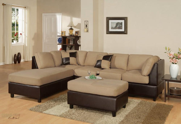 Sacramento Hazelnut Sectional Sofa with Left Facing Chaise by Urban Cali