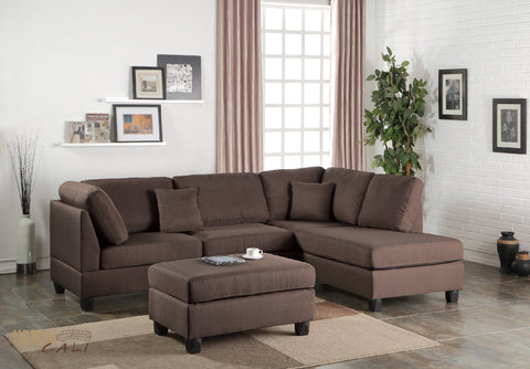 San Francisco Chocolate Linen Sectional Sofa with Reversible Chaise