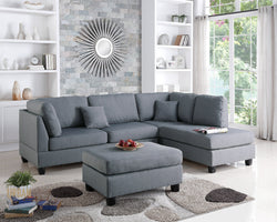 San Francisco Grey Linen Sectional Sofa with Reversible Chaise and Ottoman