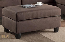 San Francisco Chocolate Linen Ottoman