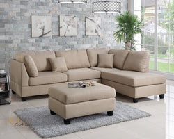 San Francisco Sand  Linen Sectional Sofa with Reversible Chaise and Ottoman