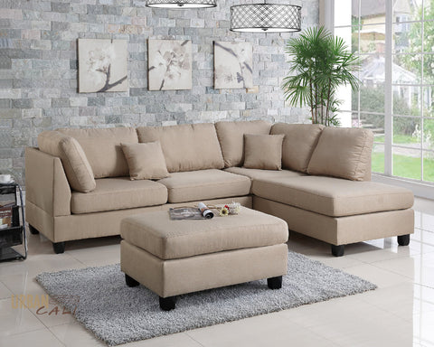 San Francisco Sand Chocolate Linen Sectional Sofa with Reversible Chaise