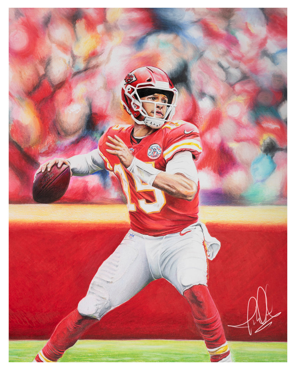 Patrick Mahomes Colored Pencil Drawing Digital Sports