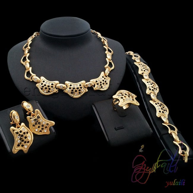 Gold Jewelry Set Necklace Earrings Ring And Bracelet – Zackonline