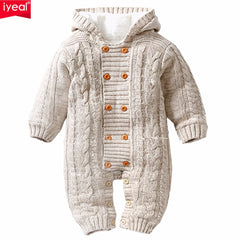e9ee229dafc Thick Warm Infant Baby Rompers Winter Clothes Newborn Baby Boy Girl Knitted  Sweater Jumpsuit Hooded Kid Toddler Outerwear