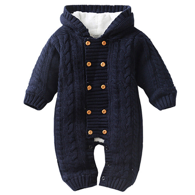 bb2118631e0a0 Thick Warm Infant Baby Rompers Winter Clothes Newborn Baby Boy Girl Knitted  Sweater Jumpsuit Hooded Kid Toddler Outerwear