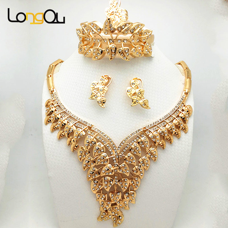 73e88effb African Beads Jewelry Sets Style Wedding Accessories Fine Crystal Gold-color  Bridal Necklace Bracelet Earrings Rings Set