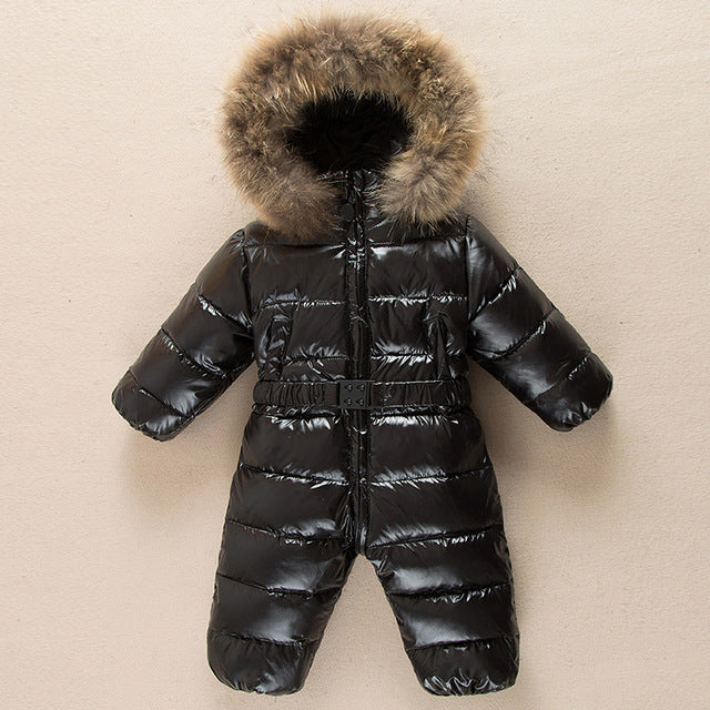 9b4c741186af Children winter Jumpsuit duck baby Rompers fur infant girls boys ...