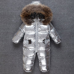 fa766094f ... Children winter Jumpsuit duck baby Rompers fur infant girls boys  Overalls hooded kids snowsuits warm baby ...