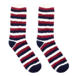 Mullins Bay Adults Cosy Socks - Claret Stripe