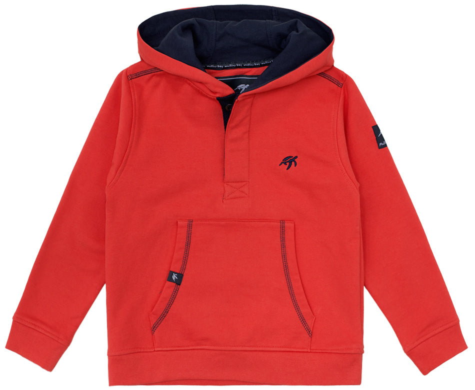 Childrens Boatyard Button Up Hood Spicy Red
