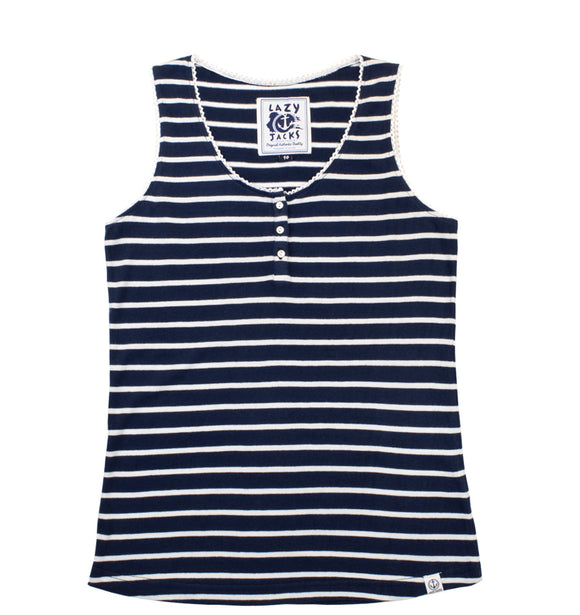 Lazy Jacks Ladies Stripe Cami Top - Marine