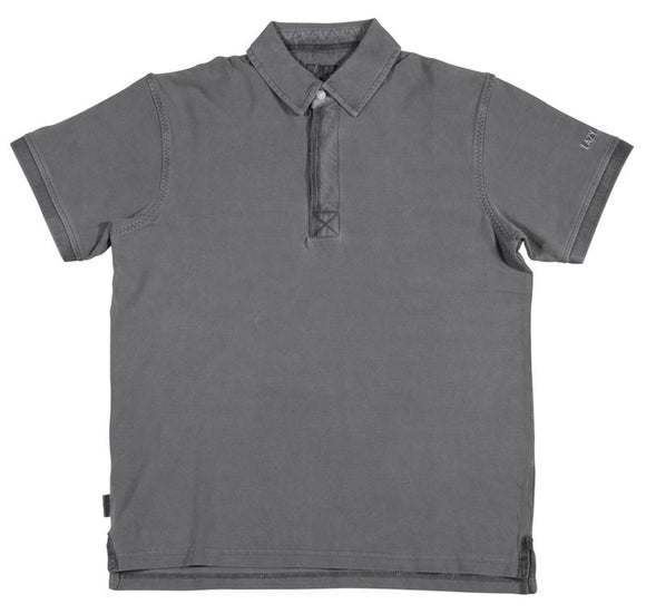 Lazy Jacks Childrens Pigment Dyed Plain Polo Shirt - Slate Grey