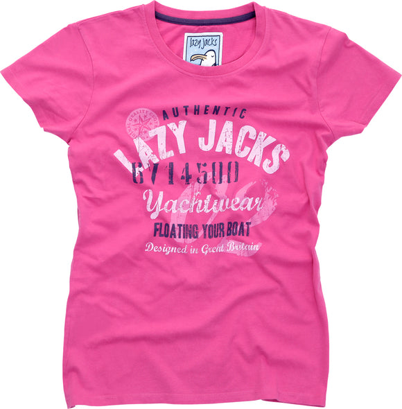 Lazy Jacks Ladies Printed T-Shirt - Raspberry