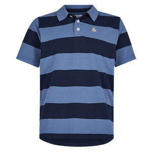 Lazy Jacks Mens Stripe Pique Polo Shirt - Marine
