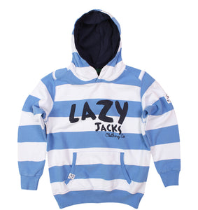 Lazy Jacks Childrens Hooded Printed Stripe Swearshirt - Denim