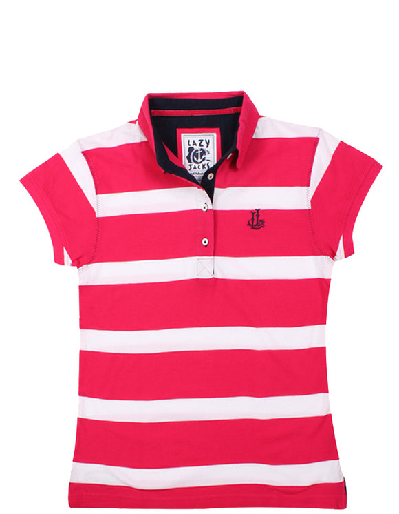 Lazy Jacks Ladies Stripe Polo Shirt - Cherry