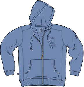 Lazy Jacks Mens Pigment Dyed Full Zip Hooded Sweatshirt - Denim