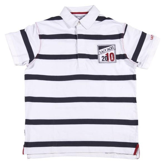 Lazy Jacks Childrens Striped polo Shirt - White