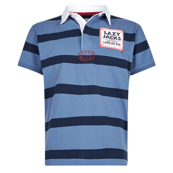 Lazy Jacks Mens Short Sleeve Stripe Rugby Shirt - Lagoon