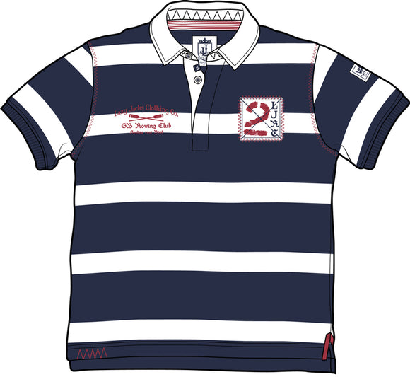 Lazy Jacks Short Sleeve Stripe Rugby Shirt - Navy