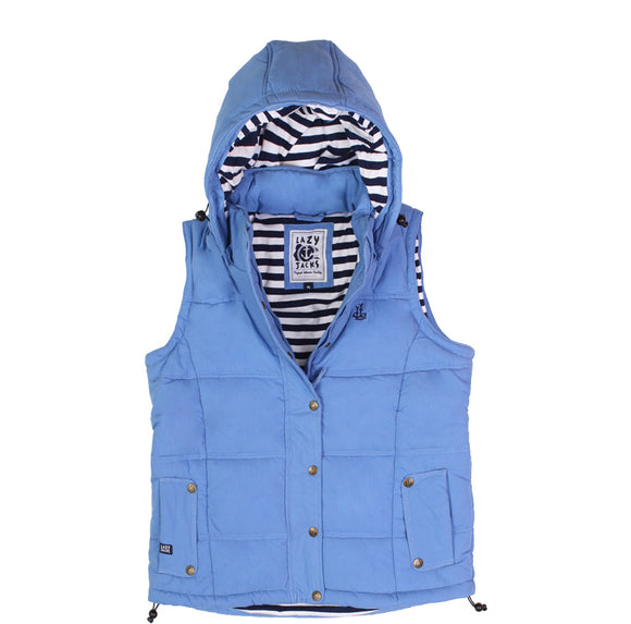 Lazy Jacks Ladies Padded Gilet With Detachable Hood - Denim