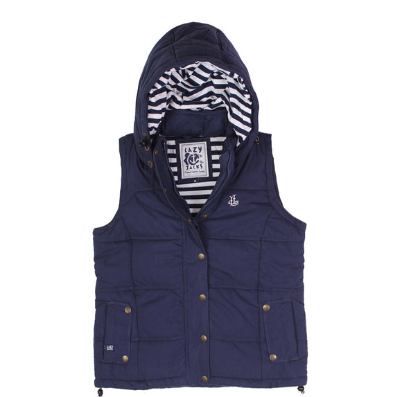 Lazy Jacks Ladies Padded Gilet With Detachable Hood - Marine