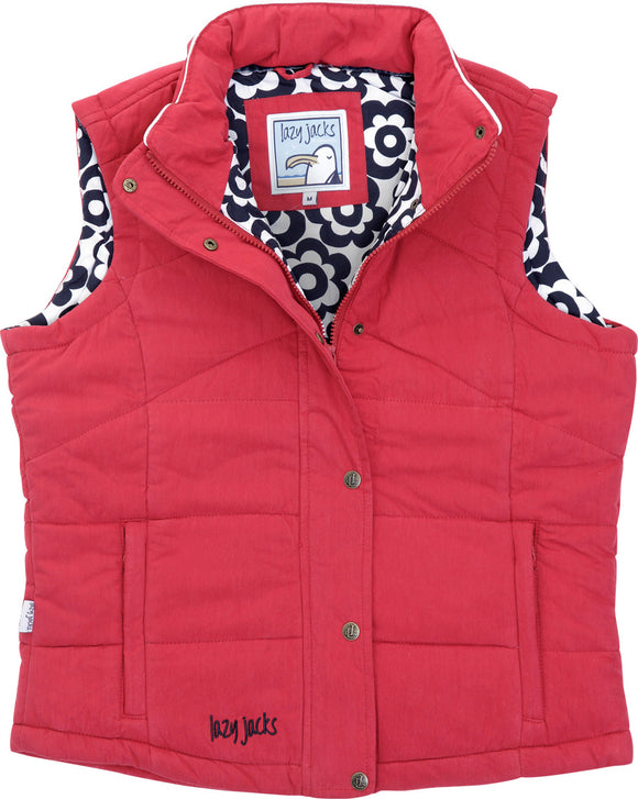 Lazy Jacks Ladies Padded Gilet - Red