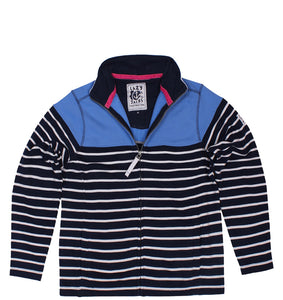 Lazy Jacks Supersoft Full Zip Stripe Sweatshirt  - Denim