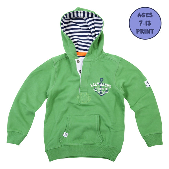Lazy Jacks Childrens Button Neck Hooded Sweatshirt - Green