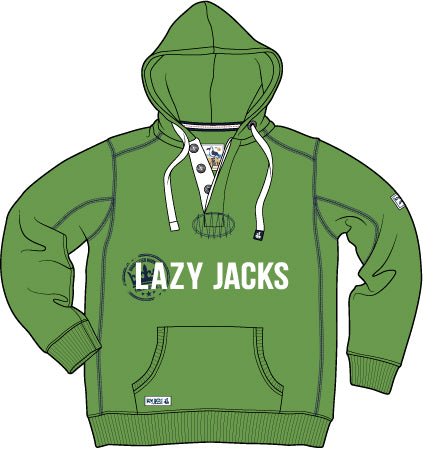 Lazy Jacks Hooded Button Neck Printed Sweatshirt - Emerald