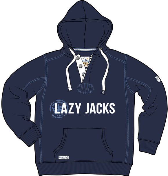 Lazy Jacks Hooded Button Neck Printed Sweatshirt - Navy