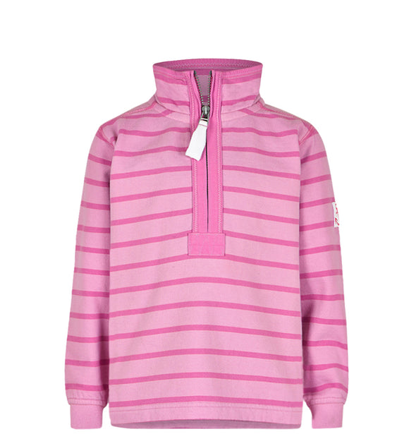 Lazy Jacks Childrens Quarter Zip Stripe Sweatshirt - Fuschia