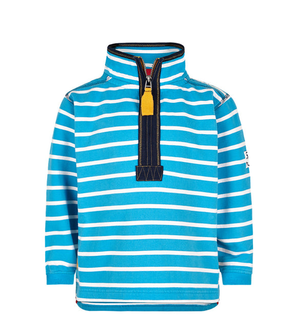 Lazy Jacks Childrens Quarter Zip Stripe Sweatshirt - Kingfisher