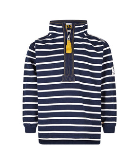 Lazy Jacks Childrens Quarter Zip Stripe Sweatshirt - Marine