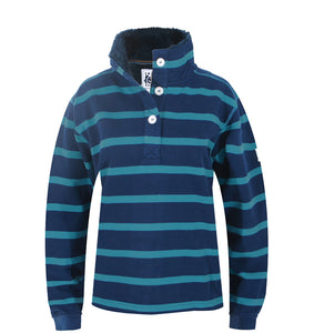 Lazy Jacks Supersoft Stripe Sweatshirt with Fleece Lined Collar - Marine