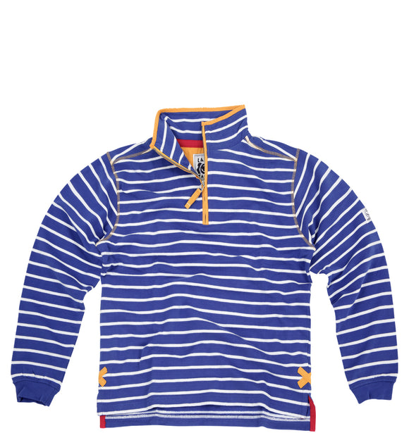 Lazy Jacks Quarter Zip Stripe Sweatshirt - Royal