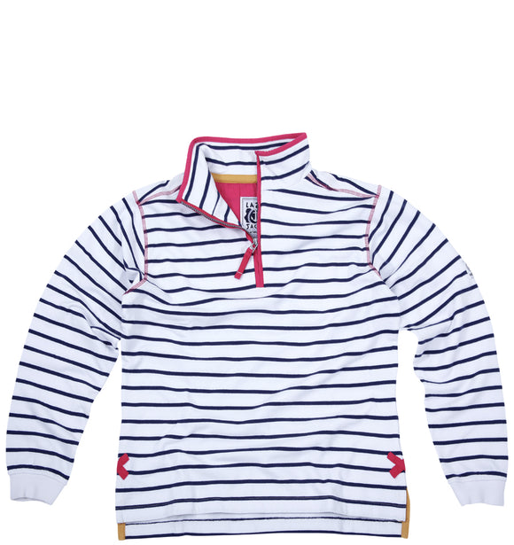 Lazy Jacks Quarter Zip Stripe Sweatshirt - White