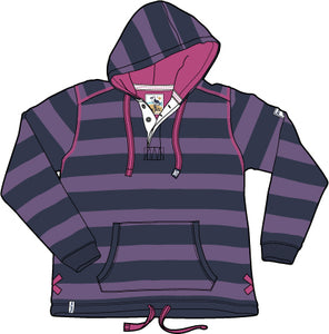 Lazy Jacks Childrens Hooded Stripe Swearshirt - Grape