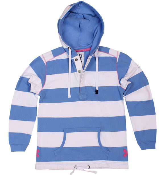 Lazy Jacks Ladies Button Neck Hooded Stripe Sweatshirt - Denim
