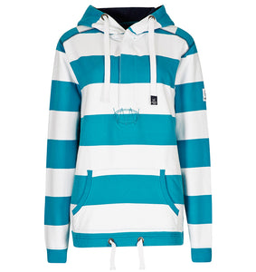 Lazy Jacks Ladies Button Neck Hooded Stripe Sweatshirt - Kingfisher