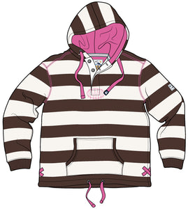 Lazy Jacks Hooded Stripe Sweatshirt - Chocolate