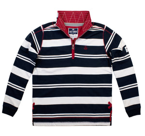 Lazy Jacks Mens Quarter Zip Stripe Sweatshirt - Navy