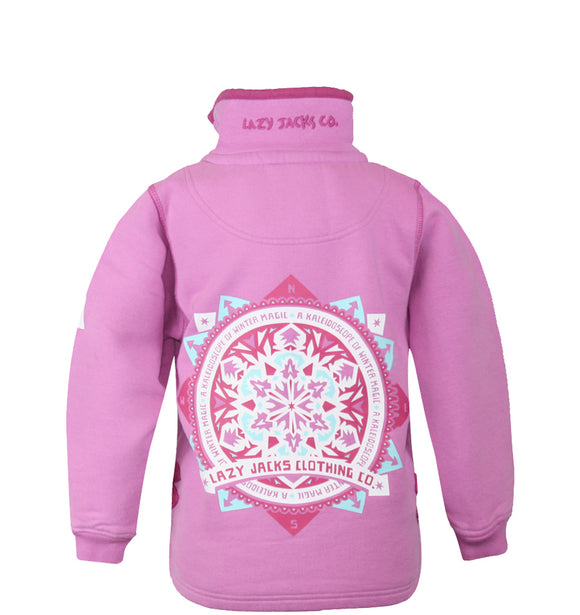 Lazy Jacks Printed Sweatshirt With Fleece Lined collar - Fuschia
