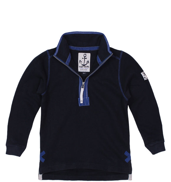 Lazy Jacks Childrens Quarter Zip Plain Sweatshirt - Marine
