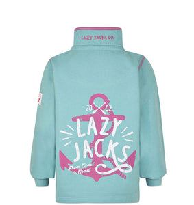 Lazy Jacks Childrens Quarter Zip Printed Sweatshirt - Turquoise