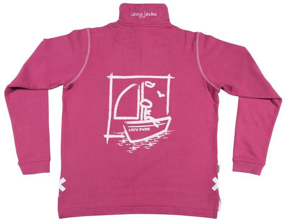 Lazy Jacks Childrens Quarter Zip Printed Sweatshirt - Raspberry