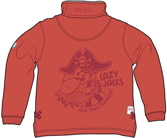 Lazy Jacks Childrens Quarter Zip Sweatshirt Printed - Orange